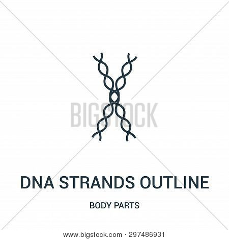poster of Dna Strands Outline Icon Isolated On White Background From Body Parts Collection. Dna Strands Outlin