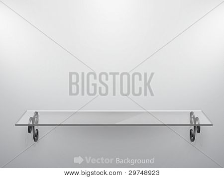 Glass isolated Empty shelf for exhibit. Vector illustration.
