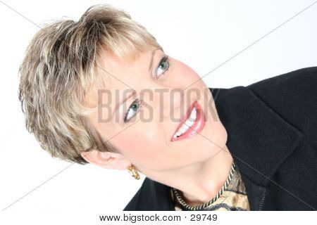 Business Woman Portrait In Black Over White