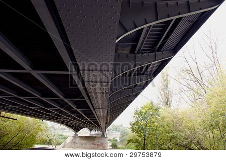 Metal Construction Of Large Bridge Over River