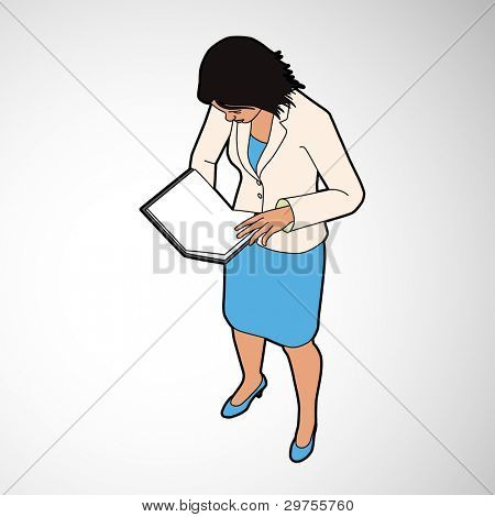 Isometric Woman Reading Book - eps8