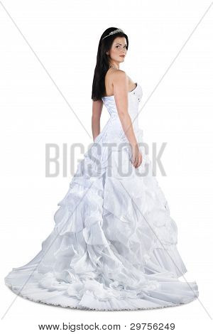 Stunning Brunette Bride In Gown Isolated On White Background