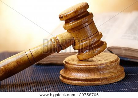 Old book and gavel with blank copy space for your text