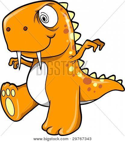 Crazy Insane Orange Dinosaur T-Rex Vector Illustration Art