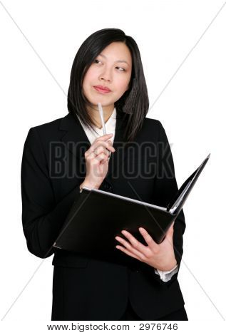 Asian Business Woman Thinking