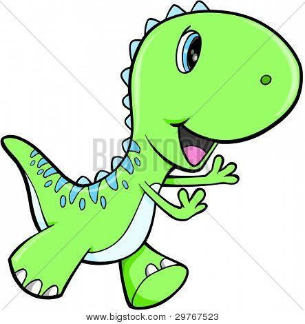 Cute Green Dinosaur Animal Vector Illustration Art