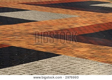 Looking Down On Outdoor Colourful Brick Paving