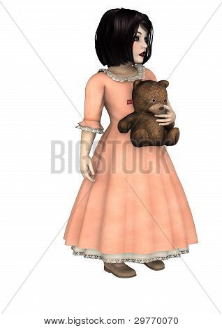 Little Goth Girl Holding A Teddy Bear