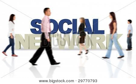 People aroung the social network isolated over a white background - 3D text