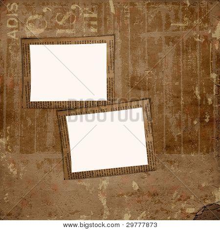 Grunge Cover Album oder Portfolio auf dem Hintergrund der Zeitung mit Rahmen