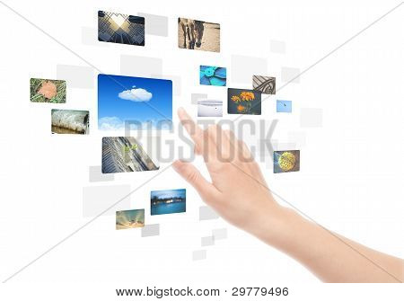 Hand Using Touch Screen Interface With Pictures Isolated