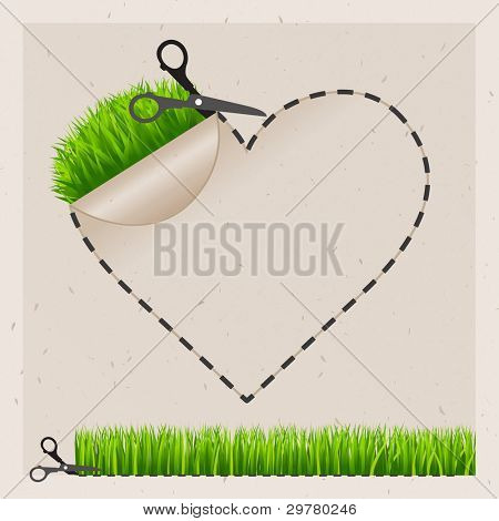 Vector scissors cut heart sticker. Green grass. Old paper