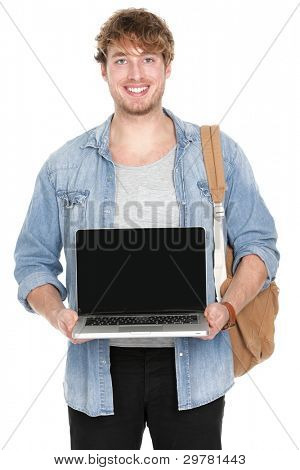 Male college / university student showing laptop screen smiling happy. Young caucasian man holding notebook computer pc showing empty blank screen with copy space. Guy isolated on white background.