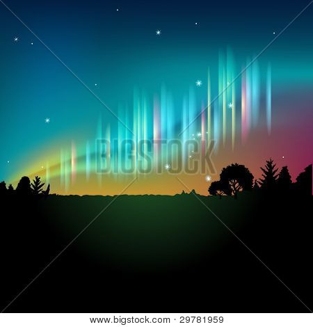 Northern lights or aurora in the night sky