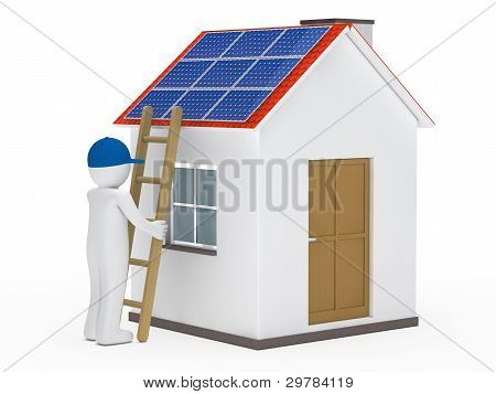 Man Hold Ladder On House