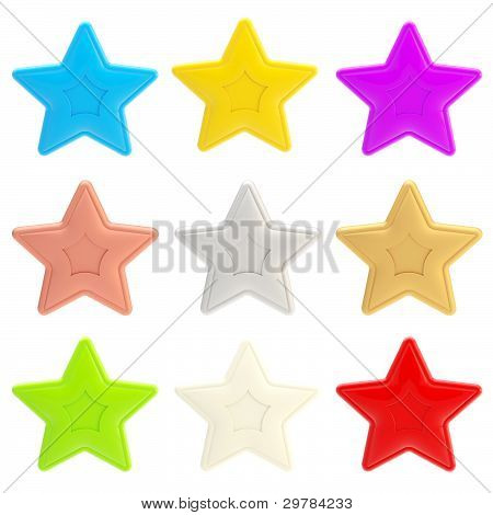 Set of nine colorful glossy stars isolated