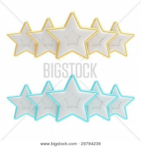 Five star rating composition isolated on white