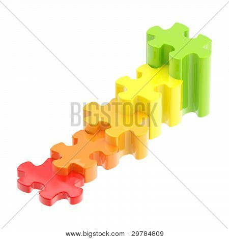 Colorful puzzle pieces as a staircase to success