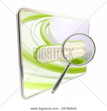 Pad search bar under the magnifier isolated