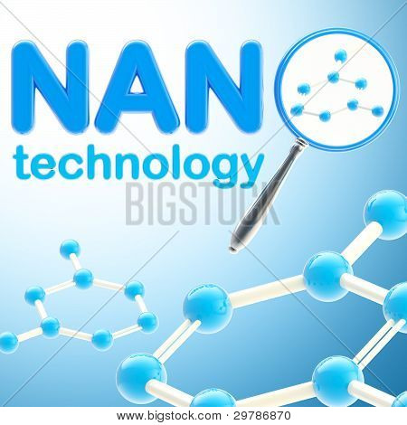 Nano technology blue glossy background