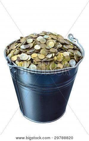 Eimer mit Münzen