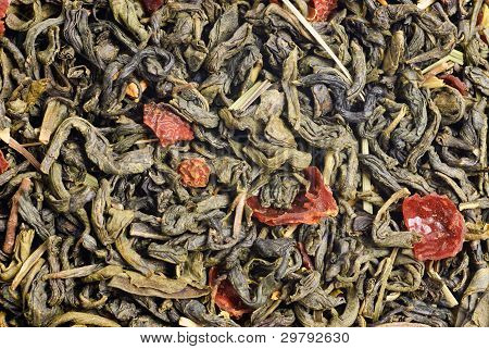 Green Tea With  Lemon Peels Flower Petals And Lime  Flavour As Background