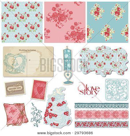 Colección Scrapbook Vintage boda - elementos de diseño por invitación, decoración en vector