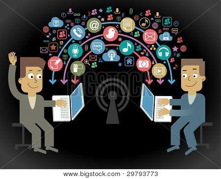 comunicação-pessoa.Conceito de comunicação dos desenhos animados