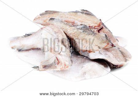 Gefrorener Fisch Seelachs und Seehecht isoliert auf weiß