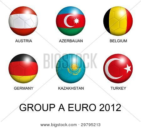 Soccer Balls With European Flags Of Group A Euro 2012 Over White