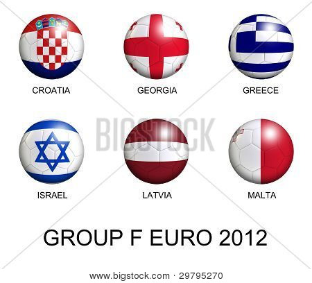 Soccer Balls With European Flags Of Group F Euro 2012 Over White
