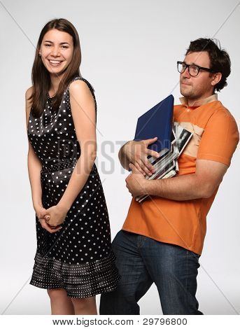 Portrait Of A Young Funny Couple In Studio