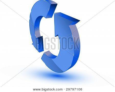 Símbolo de reciclagem atualização azul