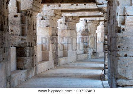 Arles Roman Amphitheater, View Of The Inner Corridors