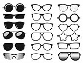 Sunglasses Set, Summer Eyewear Sun Protection Sunglass. Vector poster