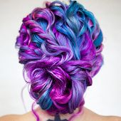 Elegant Hairstyle Of Curls On Long Colored Hair, Styling. Bright Color Coloring, Concept. Young Woma poster
