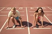 Equal Forces Concept. Man And Woman Low Start Position Running Surface Stadium. Running Competition  poster