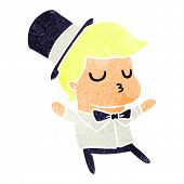 freehand drawn retro cartoon of kawaii cute prom boy poster