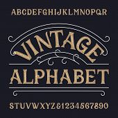 Vintage Alphabet Font. Ornate Messy Letters And Numbers In Retro Style. Hand Drawn Vector Typescript poster