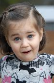 pic of jaw drop  - Little girl is amazed and surprised and shows it with jaw dropped mouth open and eyebrows raised - JPG