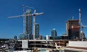 New Construction Of High-rise Buildings In Burnaby City, Industrial Construction Site, Construction  poster