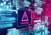 A Computer Screen With Program Code Warning Of A Detected Malware Script Program. 3d Illustration poster