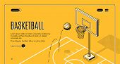 Basketball Team, Sport Club Black Line Art, Isometric Web Banner, Web Site Template With Ball Jumpin poster