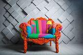 Concept Of Luxury And Success With Multi Colored Velvet Armchair, Royal Place. poster