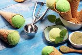 Green Tea Matcha Mint Ice Cream With Coconut Milk. poster