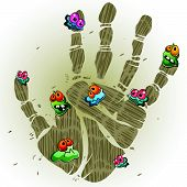 stock photo of germs  - Print of dirty palm with cartoon germs - JPG