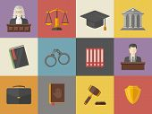 Law And Justice Icons Set Illustration In Flat Style.vector Pictogram Of A Judge, Briefcase, Book, H poster