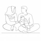 One Continuous Single Drawn Line Art Doodle Outline, Kid, Happy, Woman, Man, People. Isolated Image  poster