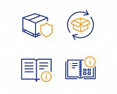 Return Parcel, Technical Info And Delivery Insurance Icons Simple Set. Instruction Info Sign. Exchan poster