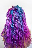 Bright Multi-colored Hair Coloring, Gradient Blue Purple And Pink Shades. Beautiful Hair, Hair Perm poster